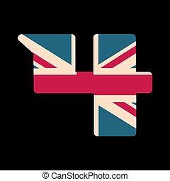 capital, numere cuatro, con, reino unido, bandera, textura, aislado, en, negro, fondo., vector, illustration., elemento, para, design., niños, alphabet.