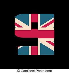 capital, numere nueve, con, reino unido, bandera, textura, aislado, en, negro, fondo., vector, illustration., elemento, para, design., niños, alphabet.