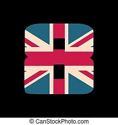 capital, numere ocho, con, reino unido, bandera, textura, aislado, en, negro, fondo., vector, illustration., elemento, para, design., niños, alphabet.