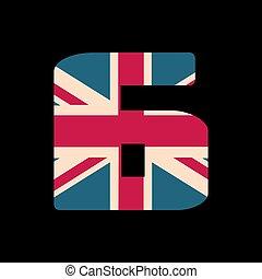 capital, numere seis, con, reino unido, bandera, textura, aislado, en, negro, fondo., vector, illustration., elemento, para, design., niños, alphabet.