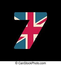 capital, numere siete, con, reino unido, bandera, textura, aislado, en, negro, fondo., vector, illustration., elemento, para, design., niños, alphabet.