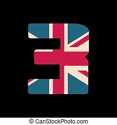 capital, numere tres, con, reino unido, bandera, textura, aislado, en, negro, fondo., vector, illustration., elemento, para, design., niños, alphabet.