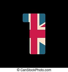 capital, numere uno, con, reino unido, bandera, textura, aislado, en, negro, fondo., vector, illustration., elemento, para, design., niños, alphabet.