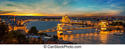 Capital of Hungary - Panoramic view on illuminated Budapest...