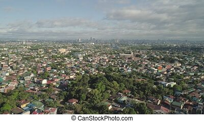 Capital of the Philippines is Manila. - Aerial view of...