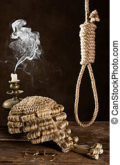 Capital punishment symbolized with judge's wig and noose