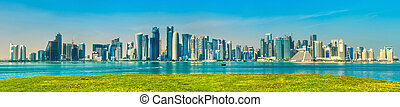 capital, qatar., doha, contorno