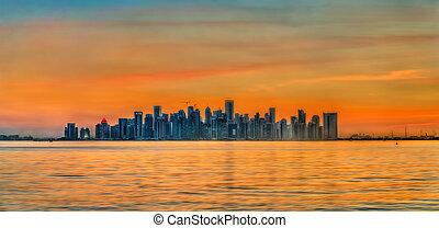 capital, qatar, doha, sunset., contorno