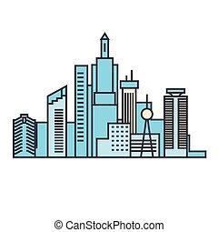Capital skyline line icon concept. Capital skyline flat vector sign, symbol, illustration.