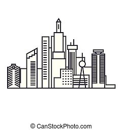 Capital skythin line thin line icon concept. Capital skythin line linear vector sign, symbol, illustration.