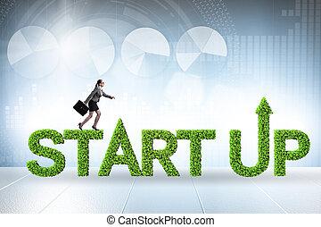 capital, start-up, entreprise, concept, vert