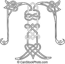 capital, t, celta, carta, knot-work