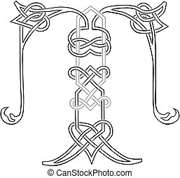 capital, t, celtique, lettre, knot-work