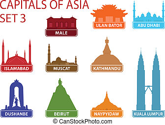 capitales, de, asia