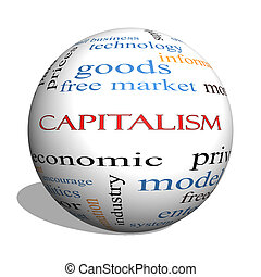 Capitalism 3D sphere Word Cloud Concept with great terms...