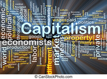 Capitalism management word cloud glowing - Word cloud...