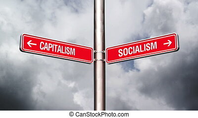 Capitalism or Socialism, conceptual video with opposite...