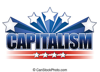 Capitalism text isolated over white