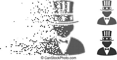 Capitalist Destructed Pixel Halftone Icon