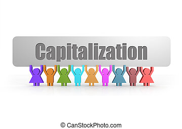 Capitalization word on a banner hold by group of puppets, 3D...