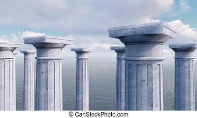 Capitals of ancient columns in a row 3D concept - Ancient...