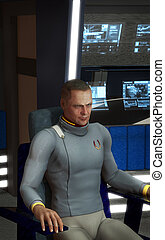 capitano, astronave, futuristico, uomo