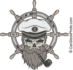 capitano, cappello, cranio, beard.