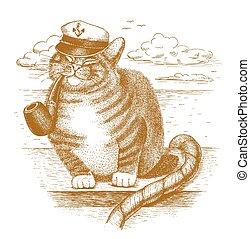 capitano, divertente, gatto, disegnato, mano