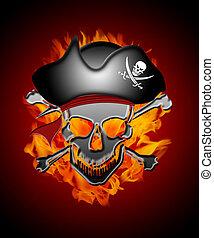 capitano, fondo, fiamme, cranio, pirata