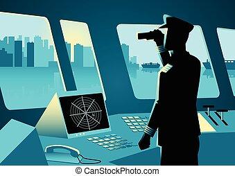 capitano, nave, grafico, illustrazione