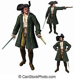 capitano, render, 3d, pirata