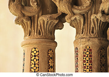 capitel and column mosaic detail in Monreale cloister, near Palermo, Sicily