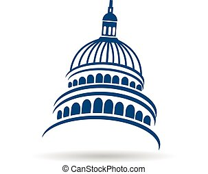 Capitol building logo - Capitol building blue illustration...