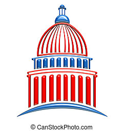 Capitol Building Red and Blue