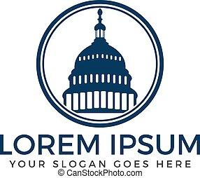Capitol building vector logo design. - Washington DC symbol....