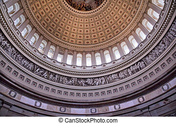 capitol, dentro, c.c. washington, nós, cúpula, rotunda