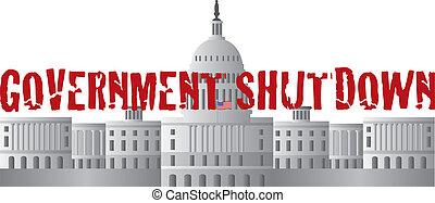 capitol, governo, texto, c.c. washington, shutdown