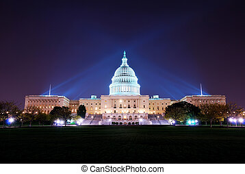 Washington DC - Capitol hill building at night illuminated...
