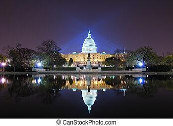 Washington DC - Capitol hill building at night illuminated...