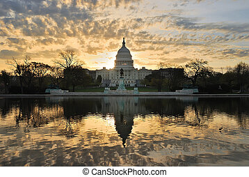Capitol hill building in the morning with colorful cloud , Washington DC.