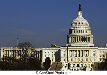 Capitol Hill - US Senate building at National Mall, ...