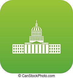 Capitol icon digital green for any design isolated on white...