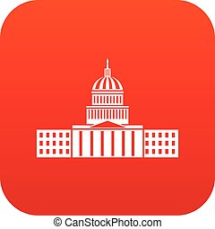 Capitol icon digital red for any design isolated on white...