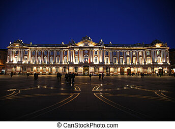 Night view of the Capitol square in Toulouse in France