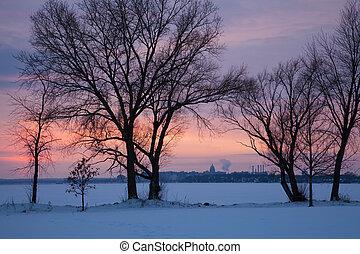 Capitol of Wisconsin seen across frozen Monona Lake.
