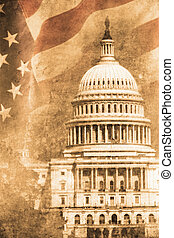 Capitol - old capitol washington D.C. in retro design look