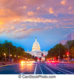 capitol, pôr do sol, pensilvânia, ave, c.c. washington