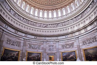 capitol, pinturas, c.c. washington, nós, cúpula, rotunda