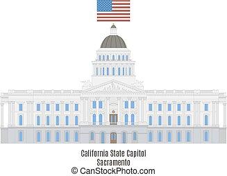 capitol, unidas, sacramento, estados, estado, califórnia, américa