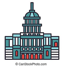 Capitol usa flat line illustration, concept vector isolated icon
